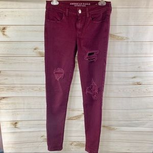 American Eagle Distressed Jeggings 4 Long